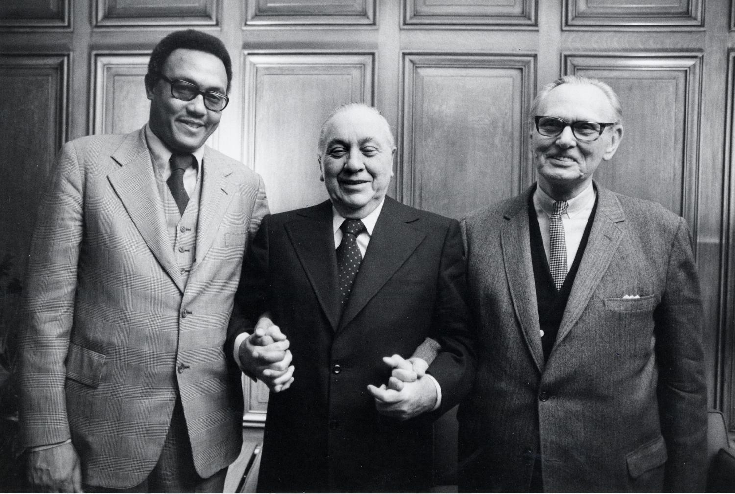 City Treasurer Joseph Bertrand, Mayor Richard J. Daley, and City Clerk John Marcin after election victory.