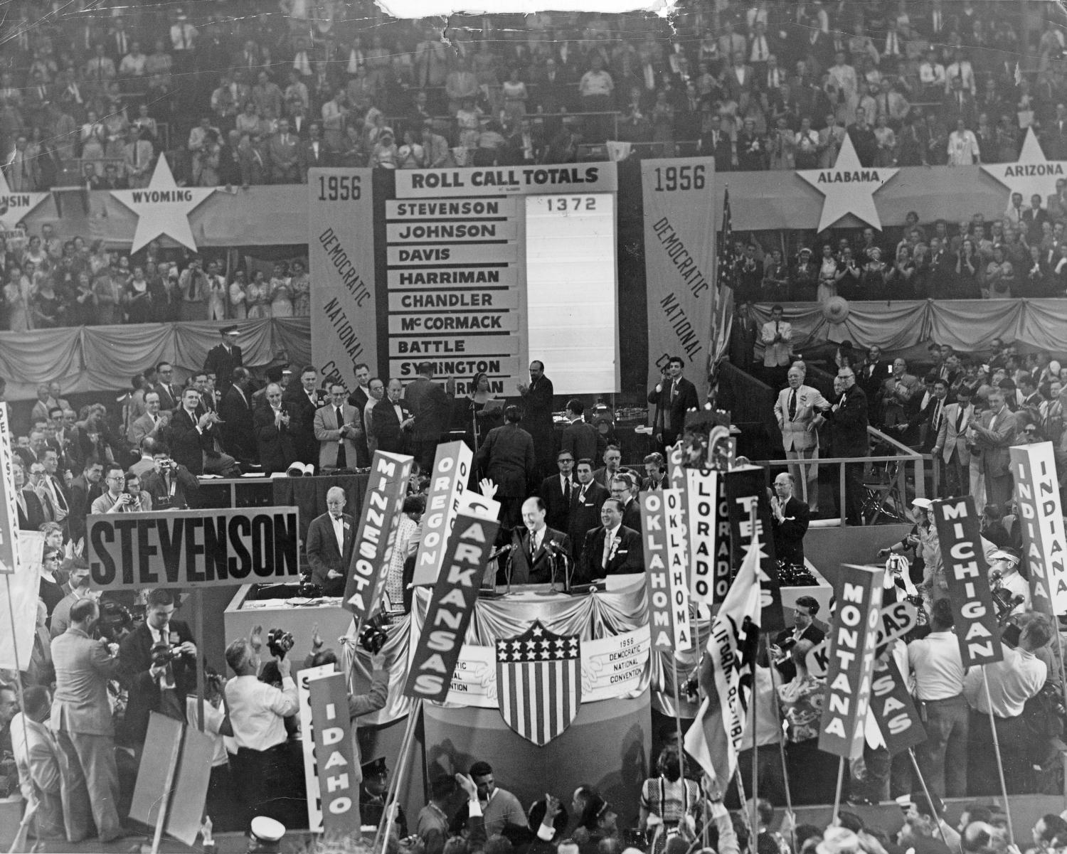 Adlai Stevenson II with Richard J. Daley on the podium at the Democratic National Convention in Chicago.