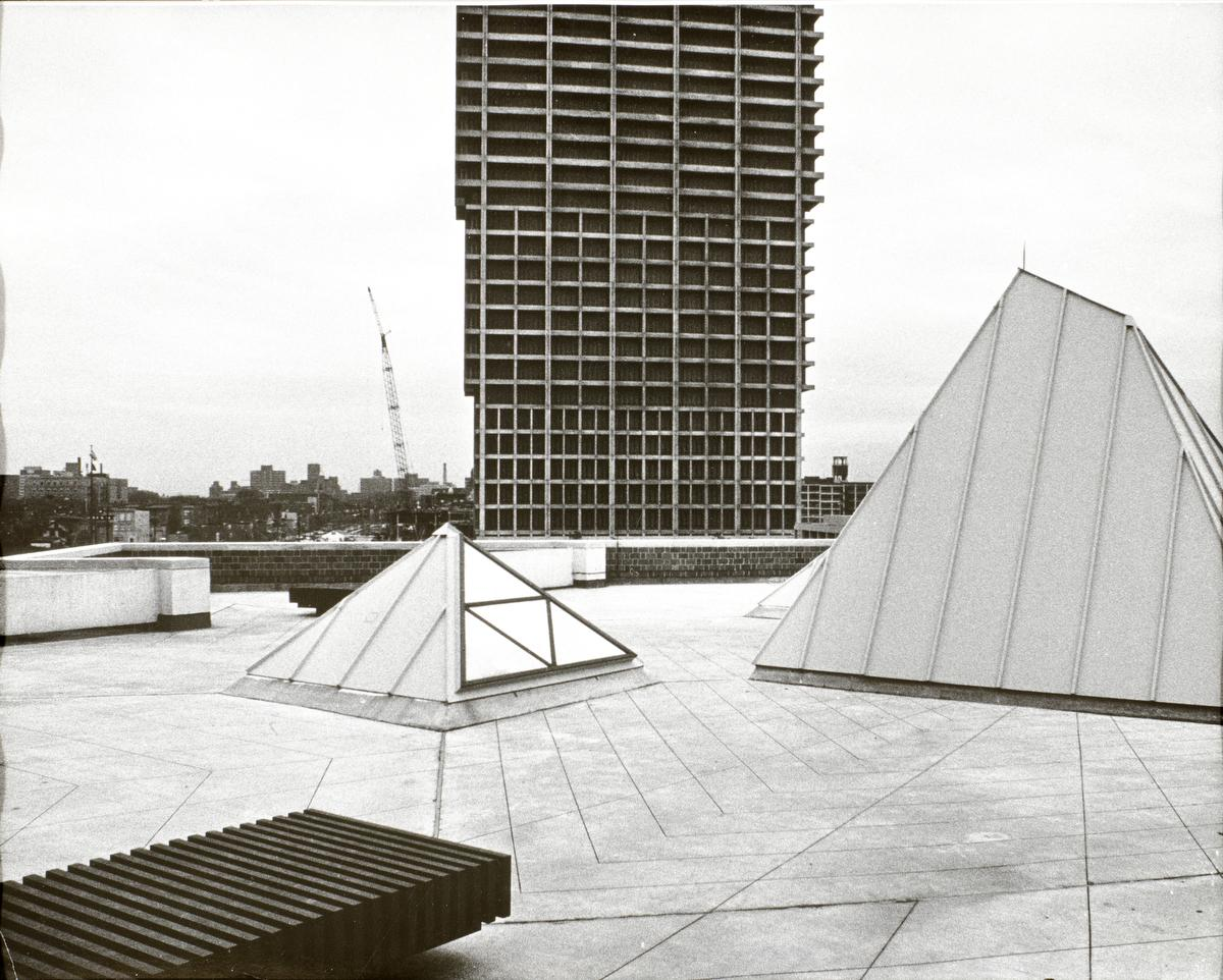 Architecture and Art (Architecture and Design Studios) roof studio with University Hall (background), ca. 1969-1970.