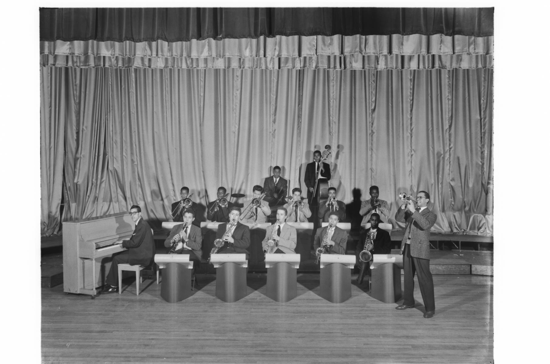 Hyde Park High School Dance Band, South Parkway; players posing as if playing
