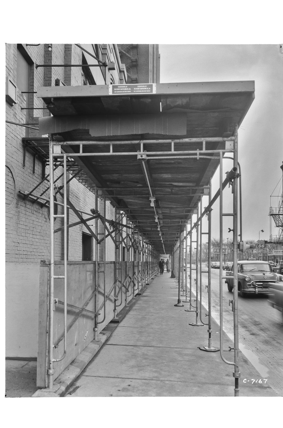 8th Street and South Michigan Avenue; exterior with scaffolding