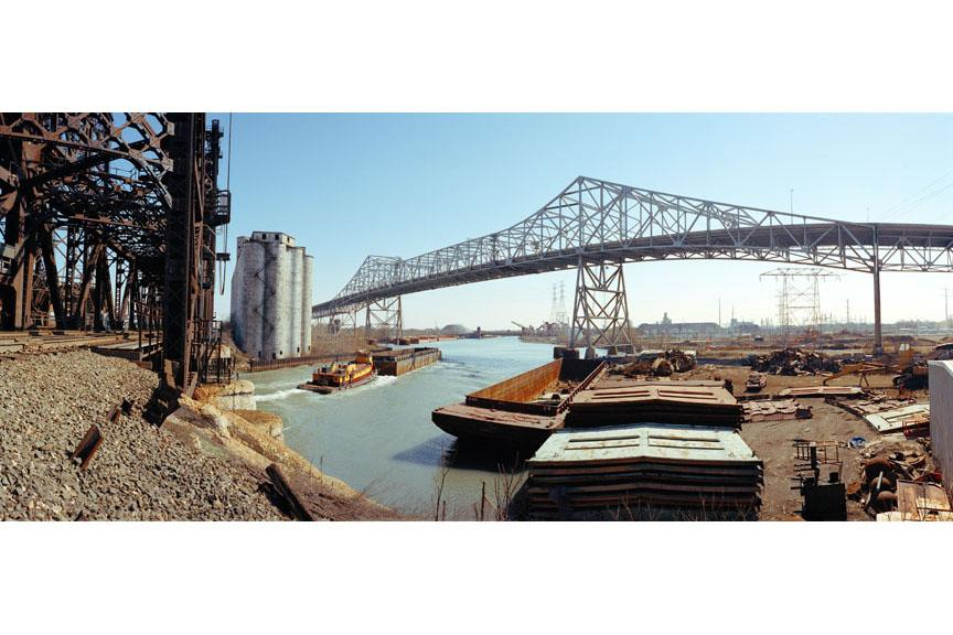 Barge and Bridges at the Calumet River