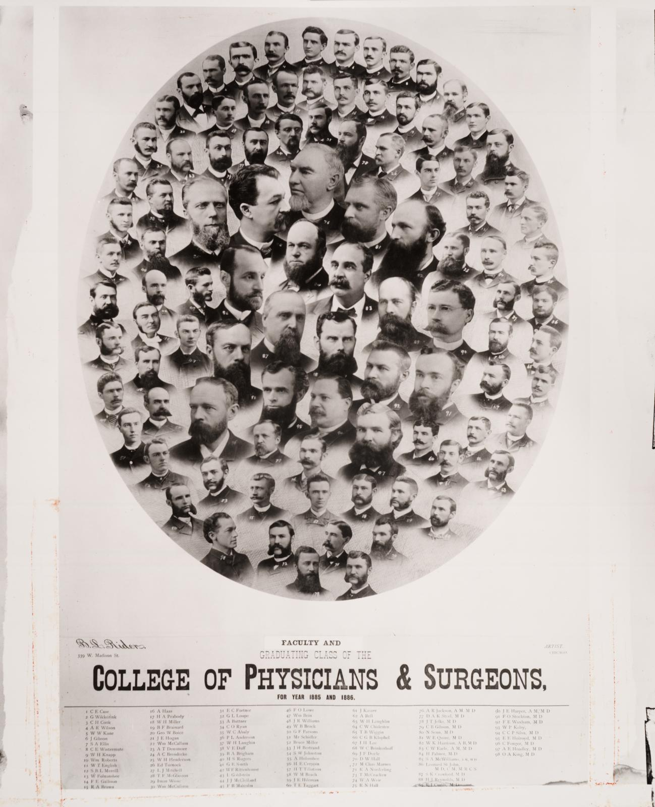 1885/1886 graduating class, University of Illinois College of Medicine
