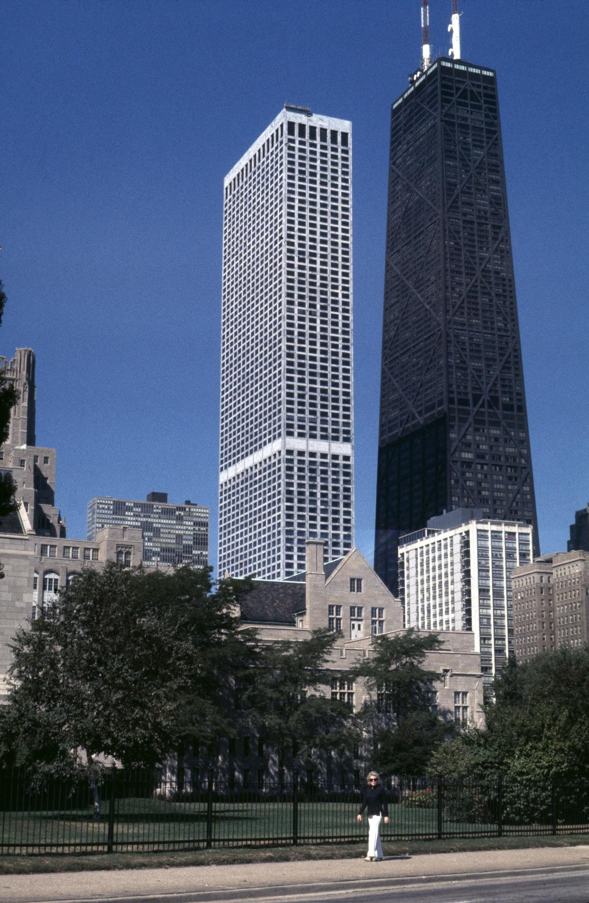 Water Tower Place and John Hancock Center from Northwestern University-Chicago campus