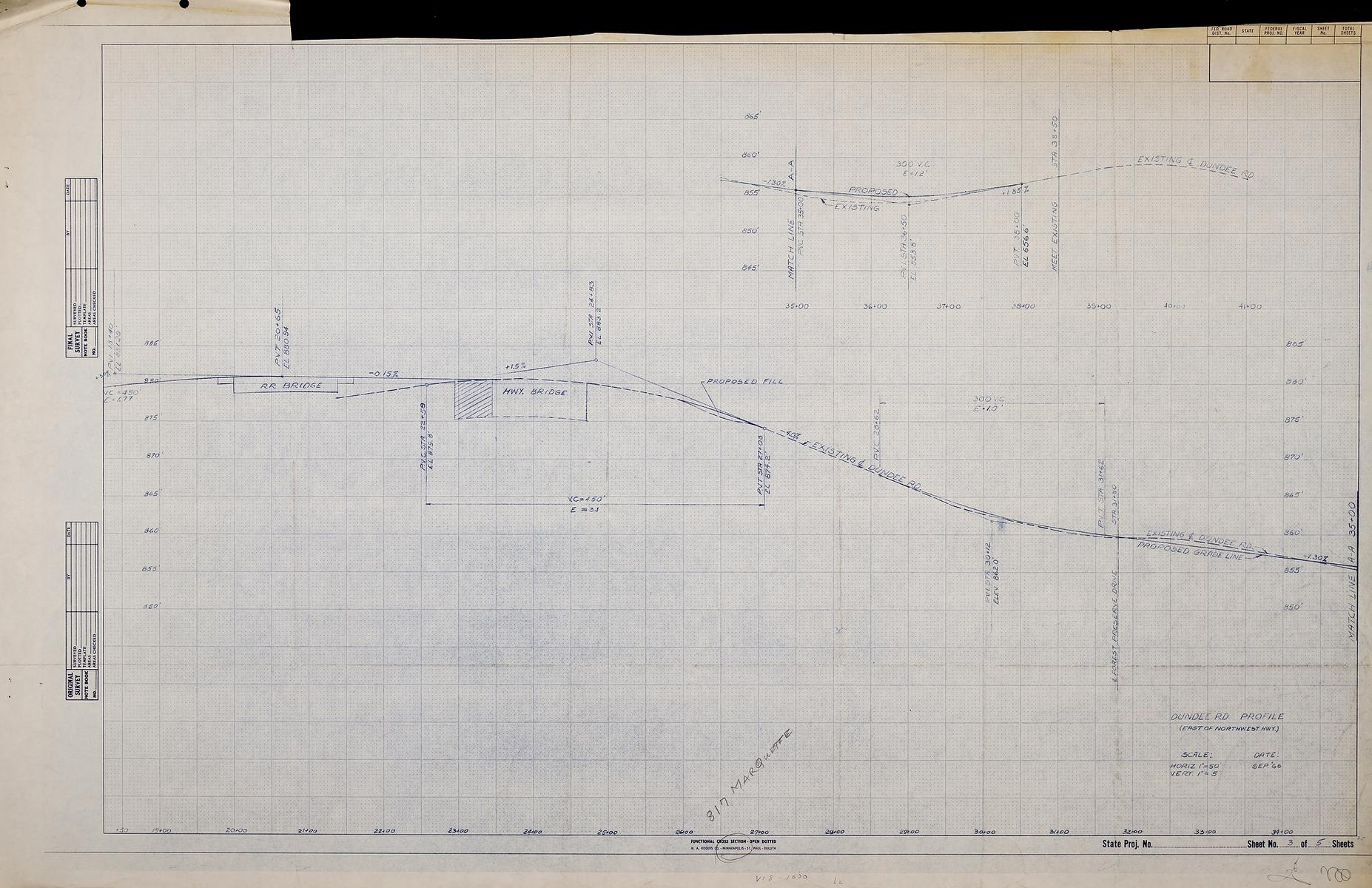 "Dundee Rd. Profile (East of Northwest Highway), scale: Horiz. 1""=50'; Vert. 1""=5'"