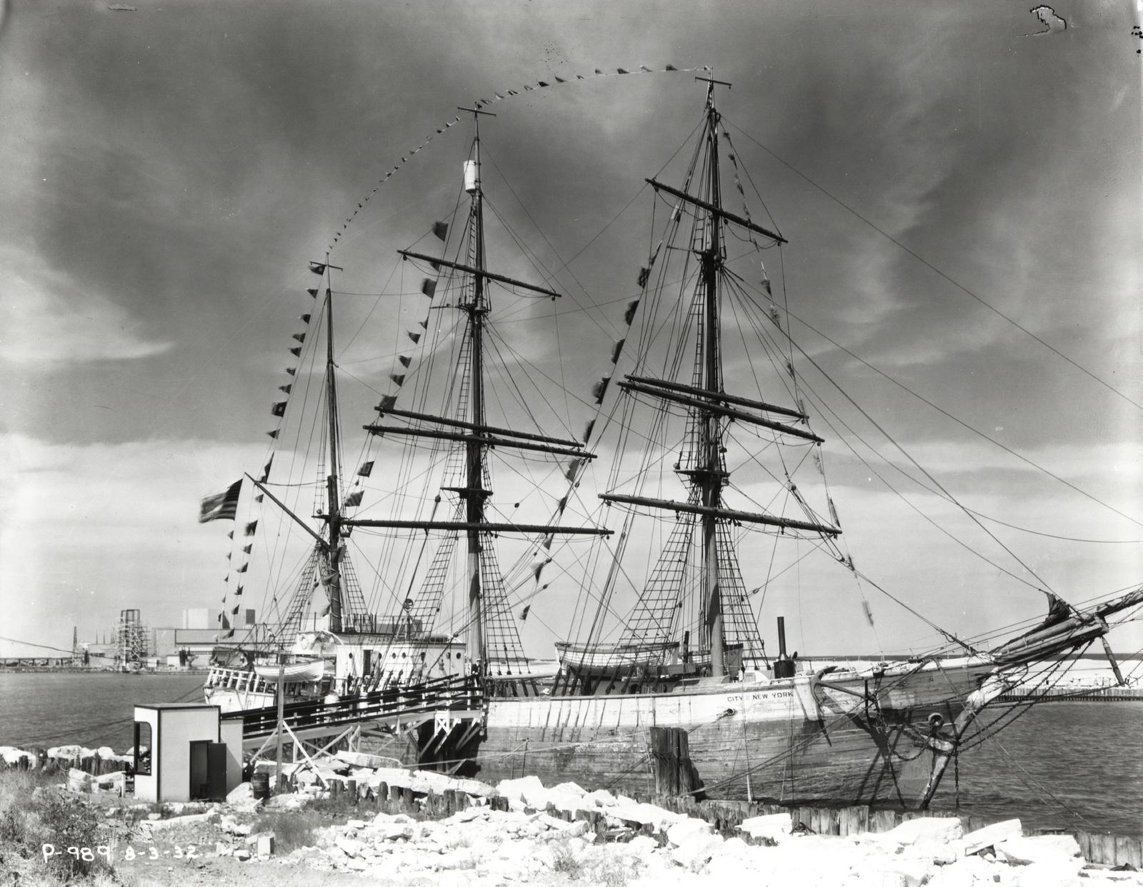 "[Admiral Byrd's flagship ""City of New York"" arrives in Chicago for A Century of Progress. Byrd sailed the City of New York during one of his famous expeditions to the Antarctic.]"