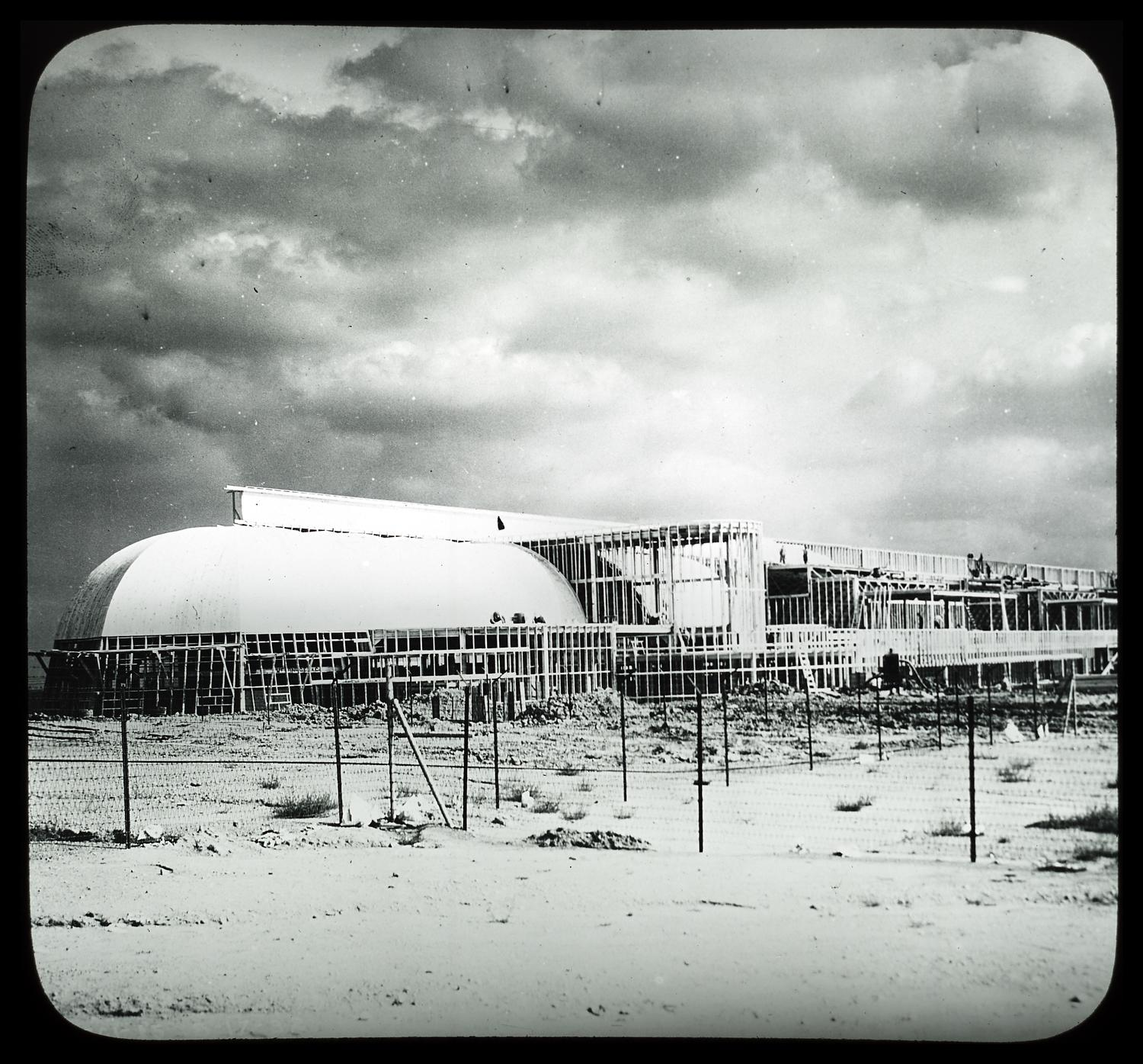 [Workers constructing the Agricultural Building for A Century of Progress.]