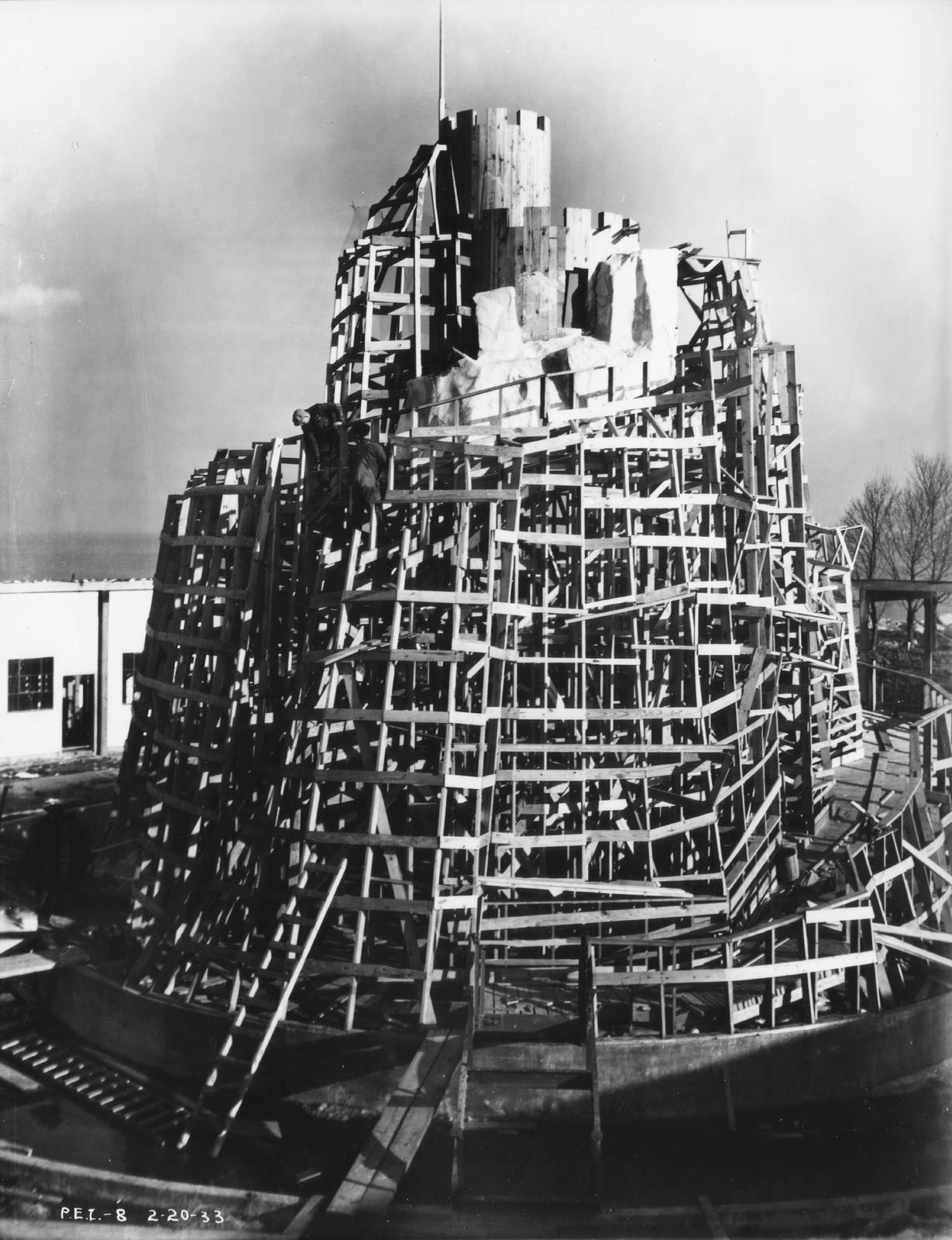 [Construction of Magic Mountain for the Enchanted Island exhibit at A Century of Progress. The photo was taken in February of 1933, a few months before the grand opening of the Fair.]
