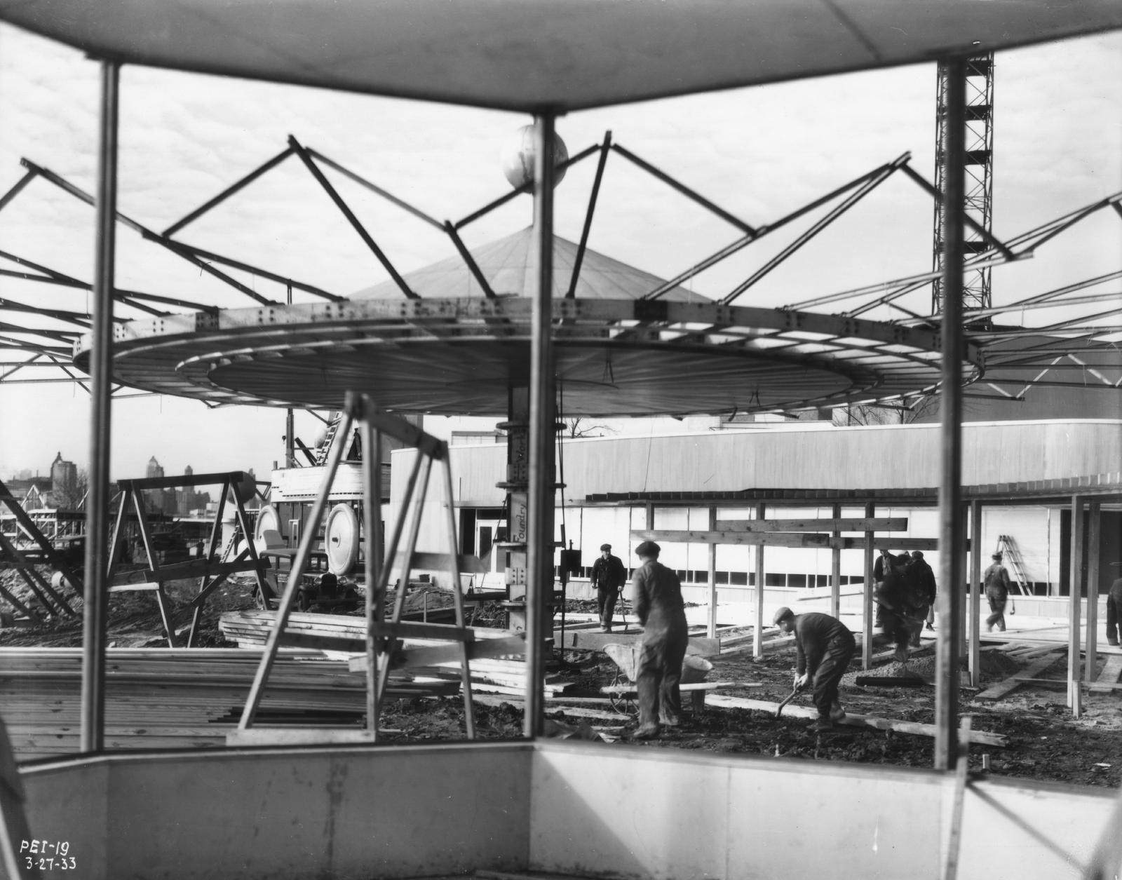 [Construction of the Gazebo in preparation for the Enchanted Island exhibit at A Century of Progress. The photo was taken in March of 1933, a few months before the grand opening of the Fair.]