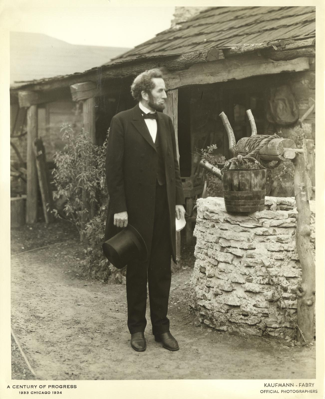 Abraham Lincoln impersonator at the Abraham Lincoln complex, Century of Progress International Exposition, 1933-1934.