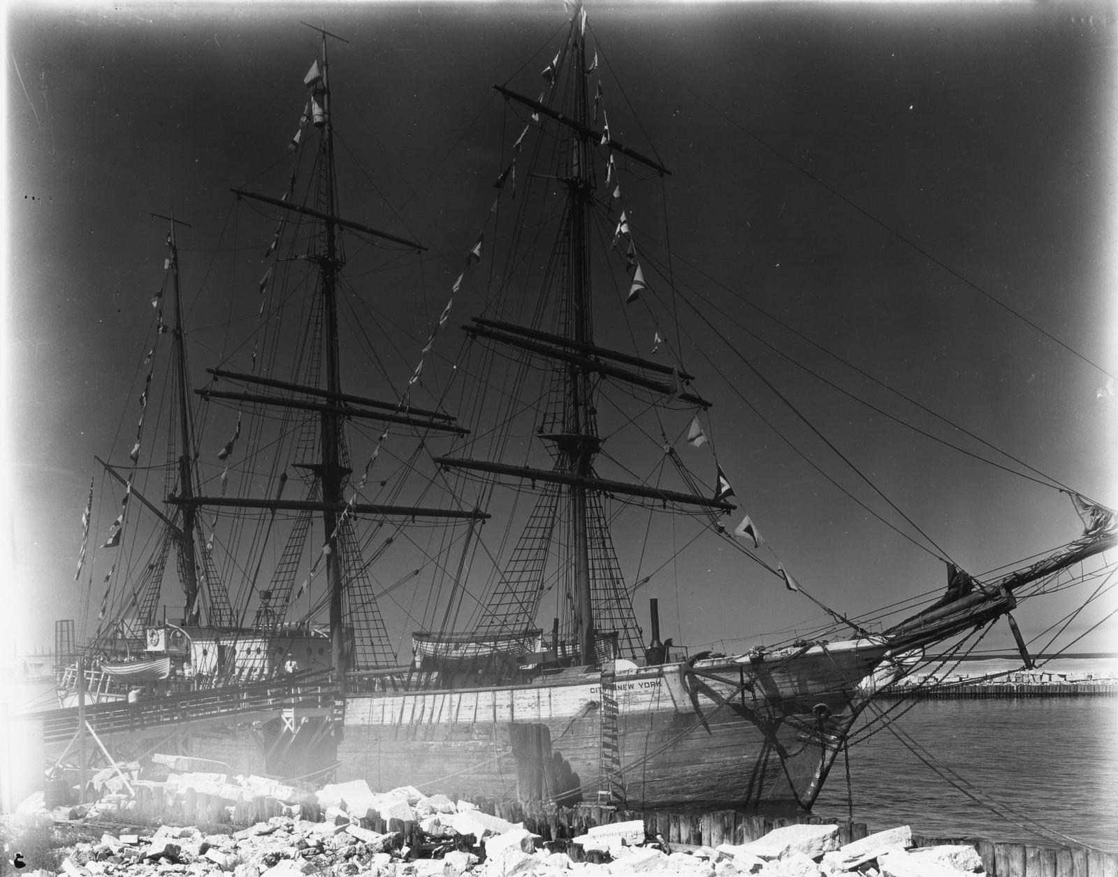 """[Admiral Byrd's flagship """"City of New York"""" arrives in Chicago for A Century of Progress. Byrd sailed the City of New York during one of his famous expeditions to the Antarctic.]"""