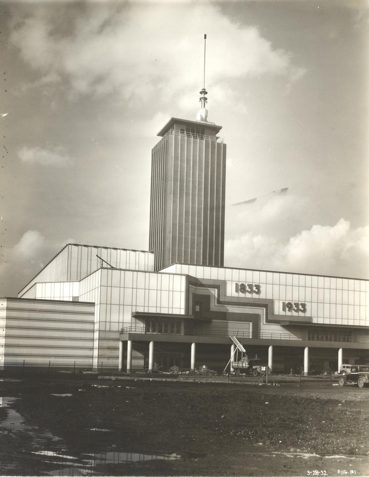 [The construction of the Hall of Science building in preparation for the Century of Progress International Exposition, 1933-1934.]