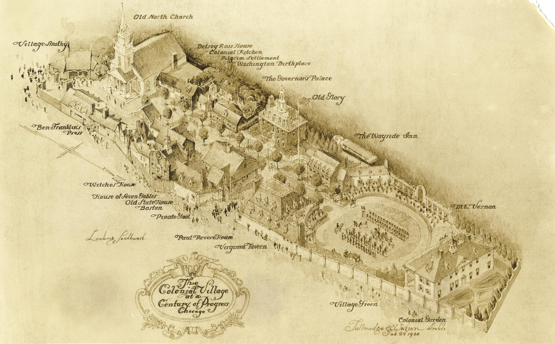 Ecc Artists Conception Of New American Colonial Village For Chi