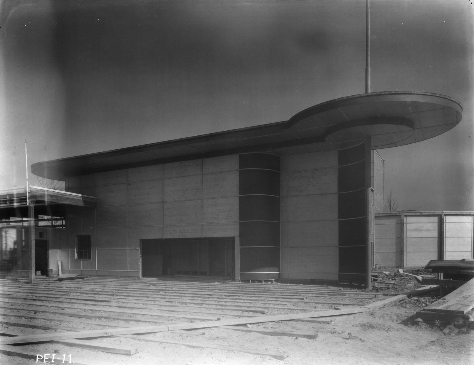 [Construction of the children's theater for the Enchanted Island exhibit at A Century of Progress. The photo was taken in March of 1933, a few months before the grand opening of the Fair.]