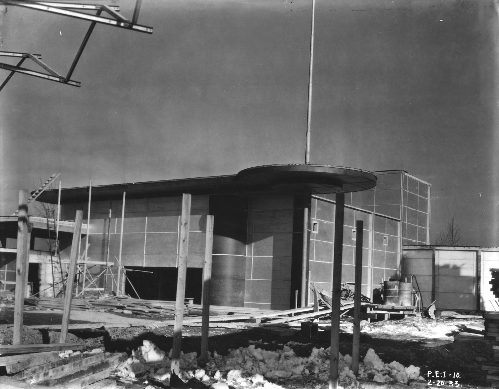 [Construction of the children's theater for the Enchanted Island exhibit at A Century of Progress. The photo was taken in February of 1933, a few months before the grand opening of the Fair.]