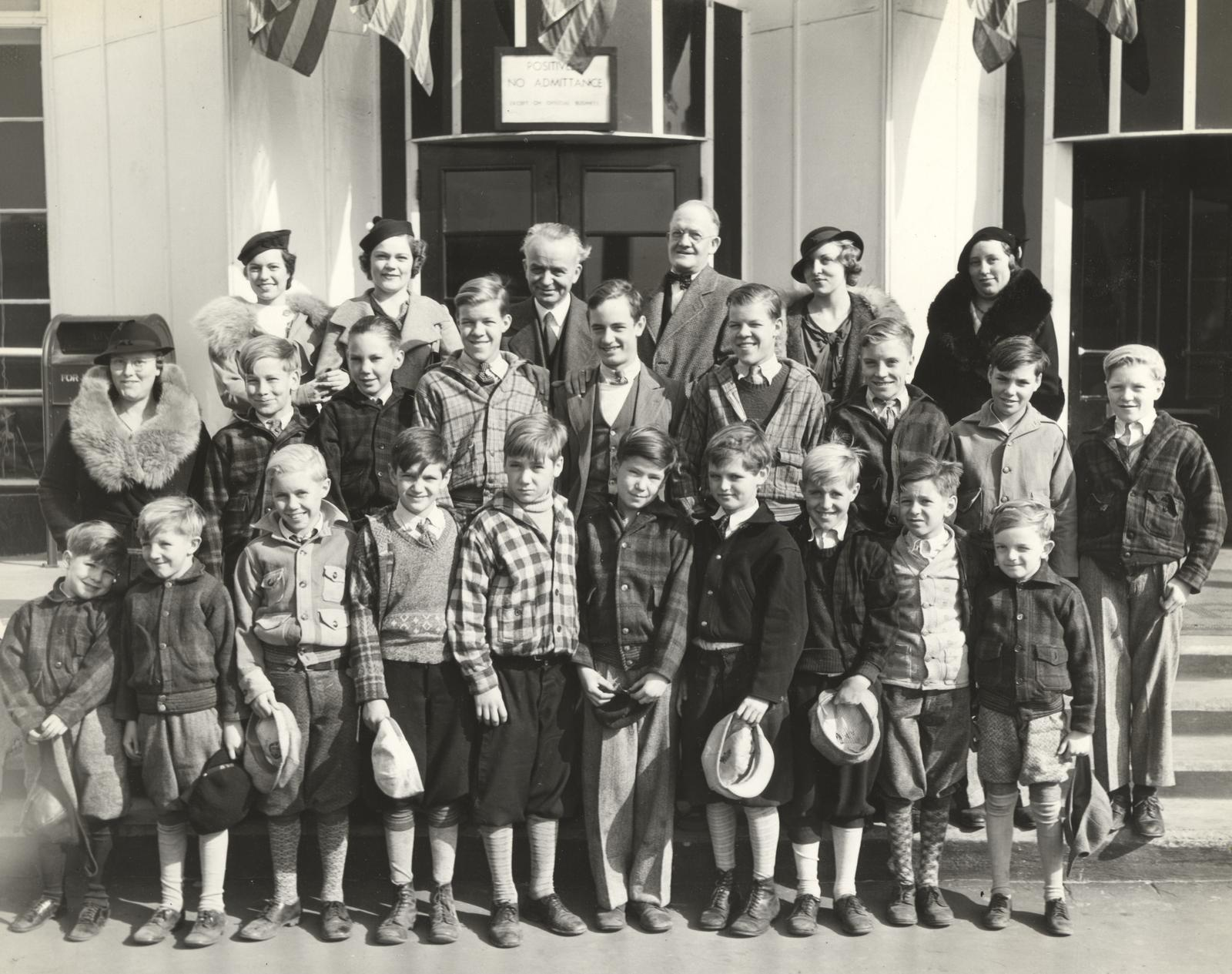 """Orphans from the Lydia Children's Home at 4300 Irving Park Boulevard visited the World's Fair today (Friday) as guests of William Daniel Johnson under the 'be a Swell Person' plan inaugurated recently by Leon Mandel."""