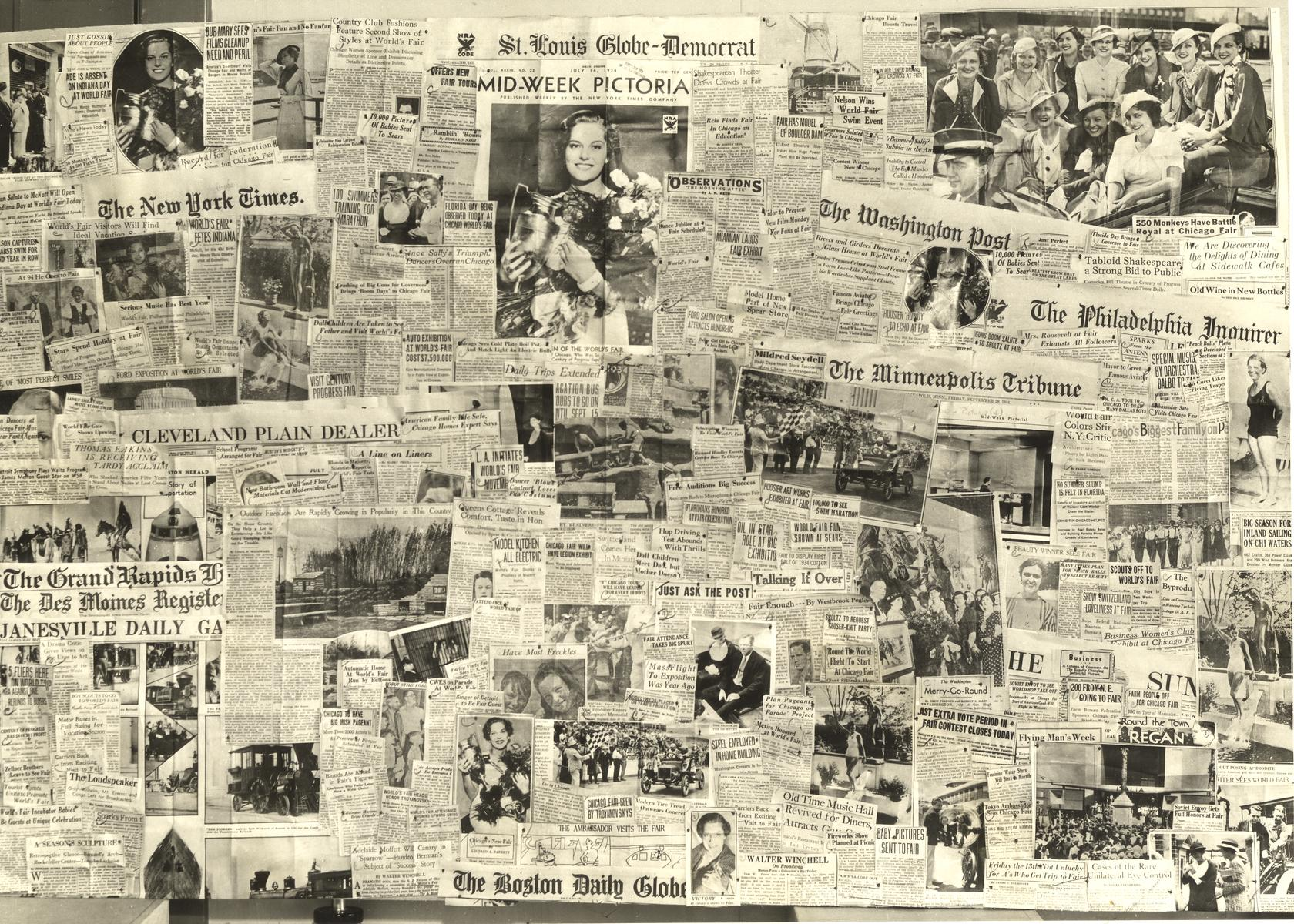 [Photo of collection of newspaper clippings demonstrating the extent of press coverage of A Century of Progress International Exposition, 1933-1934.]