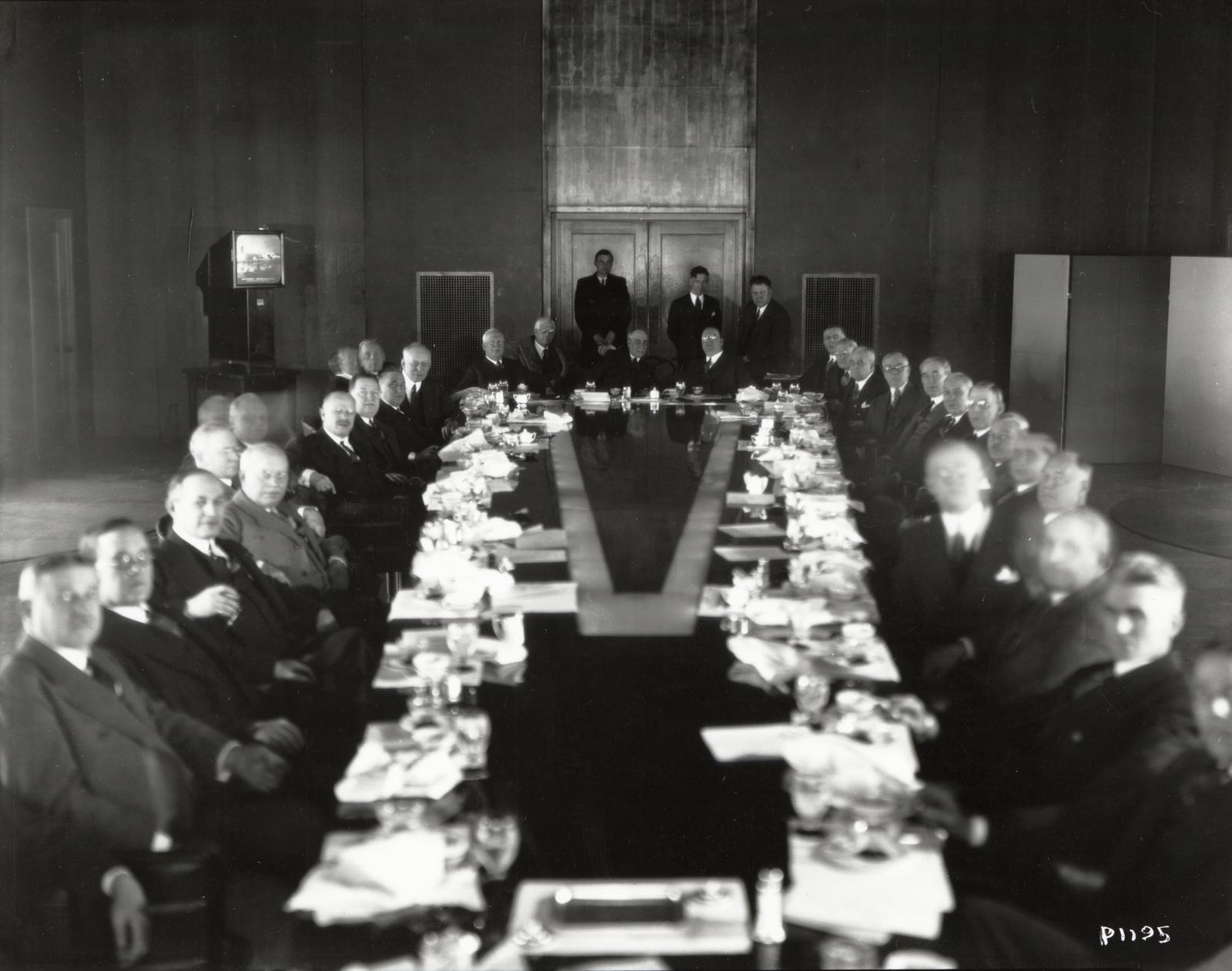 [Officials from the Illinois Manufacturers Association assembled for a luncheon at A Century of Progress in 1933.]