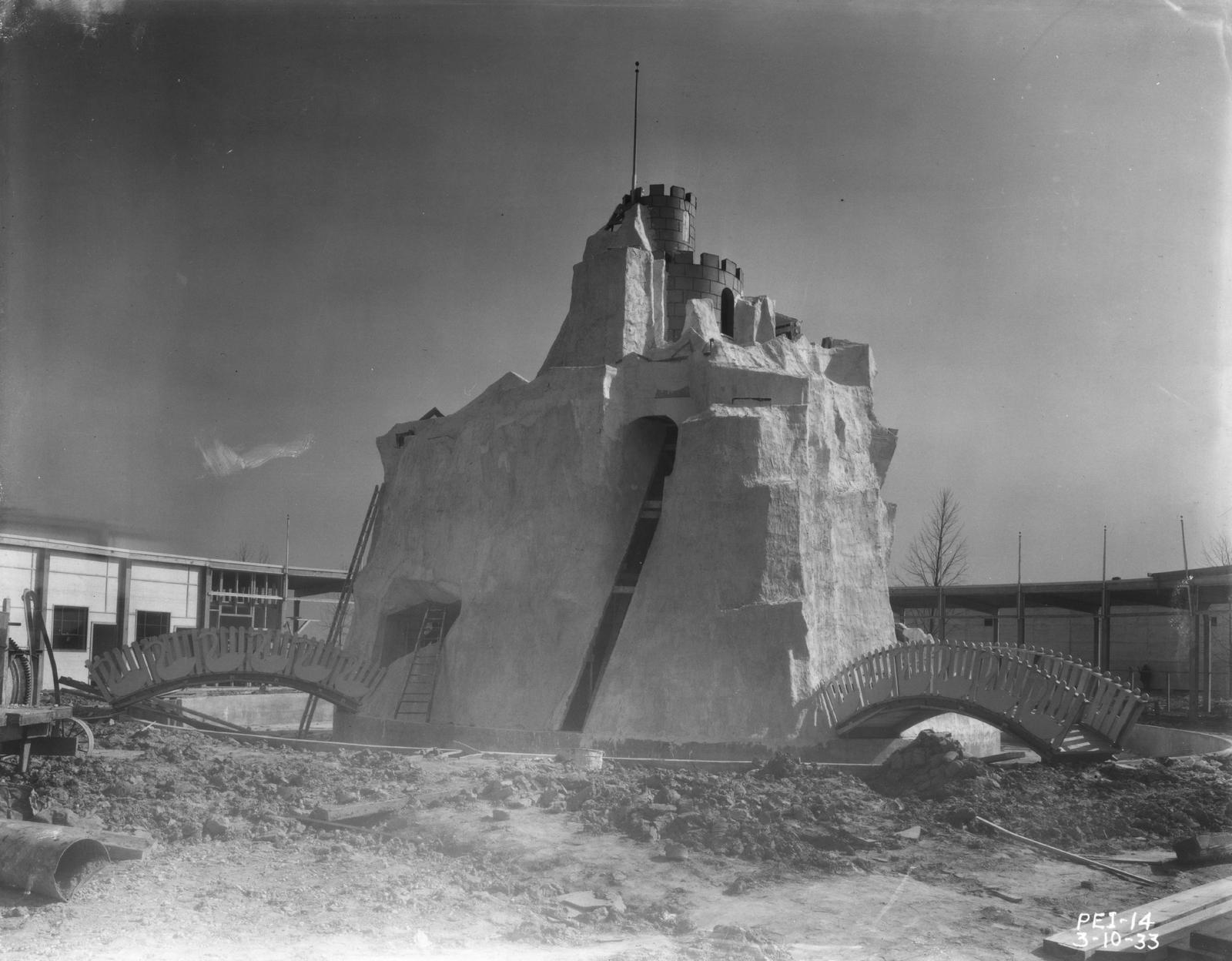 [Exterior view of Magic Mountain, part of the Enchanted Island exhibit at A Century of Progress. The photo was taken in March of 1933, a few months before the grand opening of the Fair.]