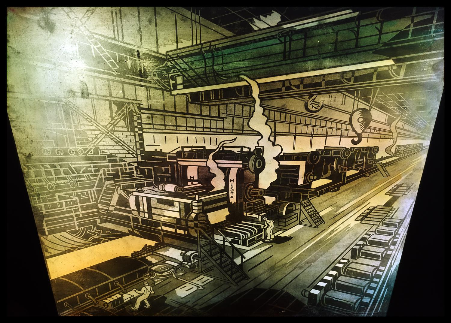 [A mural representing industry and industrialization. This picture depicts a the workshop floor of a factory.]