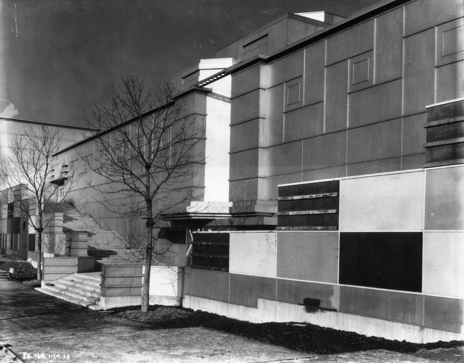 [Exterior view of the Social Science wing of the Electrical Group building. The photo was taken in 1933 before the grand opening of the Chicago World's Fair.]