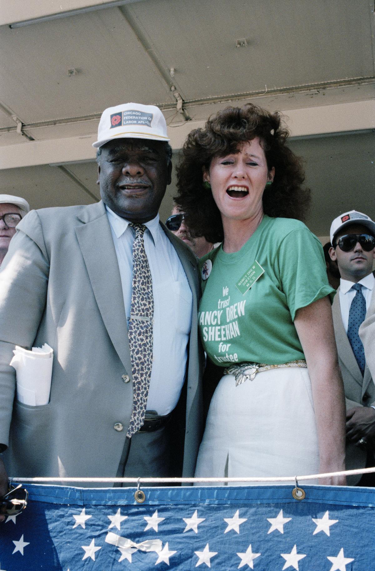 Mayor Harold Washington and Nancy Sheehan